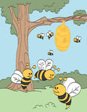 Busy Bees. Happy bees making honey in a tree vector illustration
