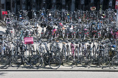 Busy bicycle parking lot in Amsterdam Stock Photos