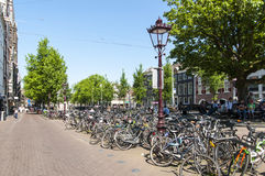 Busy bicycle parking lot in the city centre Royalty Free Stock Image