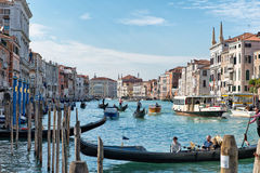 Busy boat traffic on the Grand Canal, Venice Royalty Free Stock Images