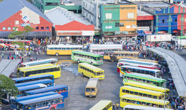 Busy bus terminal in Fiji. Suva, Fiji - Mar 24, 2017: View of people in a busy bus terminal in the city centre of Suva, Fiji Stock Photo