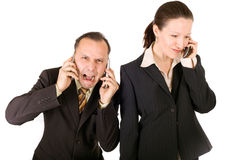 Busy business. Very busy business team, man is crying and woman happy Royalty Free Stock Photography