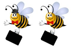 Busy Business Bee. A clip art illustration featuring your choice of busy bee business cartoon characters - one with hat and one without carrying briefcases and Royalty Free Stock Photography