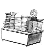 Busy. Business, legal and medical cartoon showing woman screaming as a result of the stacks and stacks of papers on her desk royalty free illustration