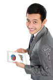 Busy business man. Happy businessman using his digital tablet Stock Image