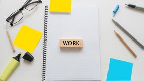 Busy business Office desk table and wooden block work word writt Stock Photos