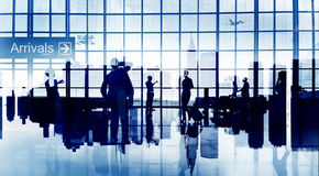 Busy Business People Silhouette Airport Travel Commercial Airpla Stock Photography