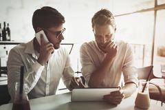 Busy business people working on break Stock Photo