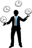 Busy business person juggles time clock Royalty Free Stock Images
