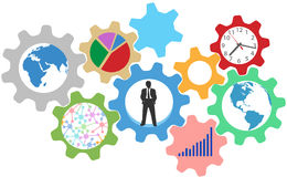 Busy business person work in gears Royalty Free Stock Photo