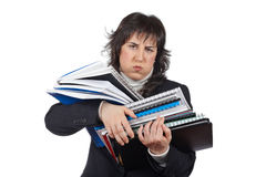 Busy business woman carrying stacked files Stock Photography