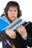 Busy business woman carrying stacked files. Over a white background Stock Photos