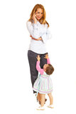 Busy business woman with child Royalty Free Stock Photos