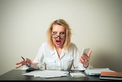 Busy business woman Stock Images