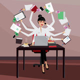 Busy business woman. Multitasking business woman working in the workplace Stock Photo