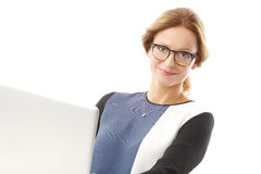Busy business woman portrait Stock Photos