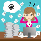 Busy business woman. With too much workload Royalty Free Stock Images