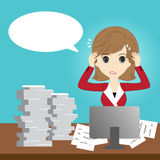 Busy business woman. With too much workload Royalty Free Stock Photo