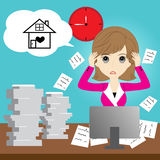 Busy business woman. With too much workload Royalty Free Stock Image