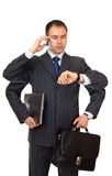 Busy businessman. Royalty Free Stock Photo