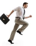 Busy businessman. With briefcase running to important meeting Stock Images