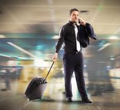 Busy businessman in airport Stock Images