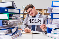 The busy businessman asking for help with work Stock Photography