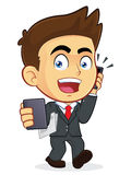 Busy Businessman. Clipart Picture of a Busy Male Businessman Cartoon Character Royalty Free Stock Image