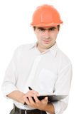 Busy businessman in his helmet Stock Photos
