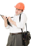 Busy businessman in his helmet Stock Image
