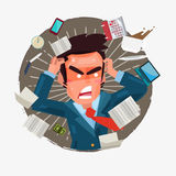 Busy businessman with a lot of works to do. character design - Stock Images