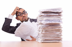 Busy businessman. With lots of papers Royalty Free Stock Image