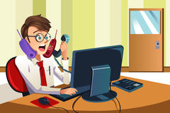 Busy businessman on the phone. A vector illustration of a busy businessman talking on many phones at the same time Stock Image