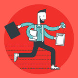 Busy businessman running. Royalty Free Stock Image