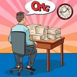 Busy Businessman with Stack of Papers. Overtime at Work. Pop Art illustration Stock Images