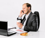 Busy businessman talks on cell phone Stock Photo