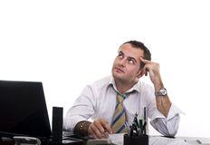 Busy businessman thinking Royalty Free Stock Photos