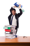 Busy businessman under work stress Stock Images