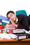 Busy businessman under work stress Stock Image