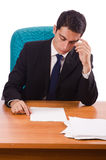 Busy businessman under work stress Royalty Free Stock Photos
