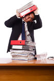 Busy businessman under work stress Royalty Free Stock Photo
