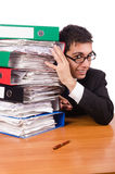 Busy businessman under work stress Royalty Free Stock Images