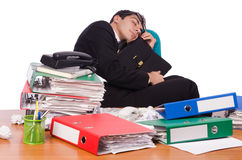 Busy businessman under work stress Royalty Free Stock Photography