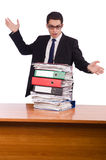 The busy businessman under work stress Stock Image