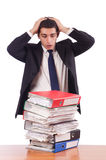 The busy businessman under work stress Royalty Free Stock Photography