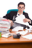 The busy businessman under work stress Stock Images