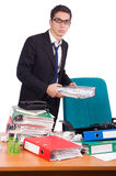 The busy businessman under work stress Stock Photo