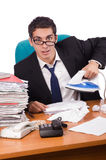 The busy businessman under work stress Royalty Free Stock Photos