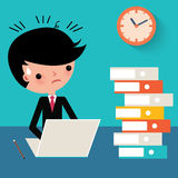 Busy businessman at work cartoon Royalty Free Stock Photo