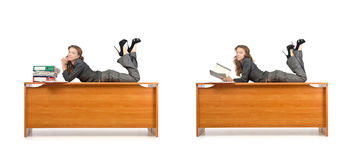 The busy businesswoman isolated on the white Stock Photography